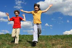 Kids running Stock Photo