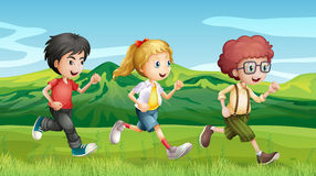 Kids running across the hills. Illustration of kids running across the hills royalty free illustration