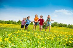 Kids running. Group of happy kids running in the yellow flowers field summer day Royalty Free Stock Images
