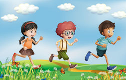 Kids running at the hills stock illustration