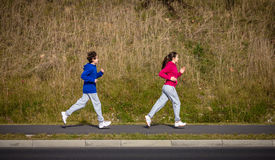 Kids running, jumping outdoor Royalty Free Stock Photos