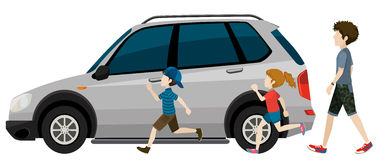 Kids running near the parked vehicle Stock Photography