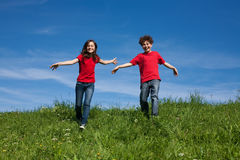 Kids running outdoor Stock Image