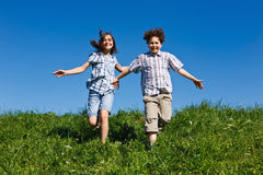 Kids running outdoor Royalty Free Stock Image