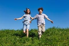 Kids running outdoor Royalty Free Stock Image