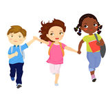 Kids running with school bag Royalty Free Stock Photography