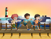 Kids running at the seaport. Illustration of kids running at the seaport Stock Photos