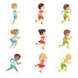 Kids Running Set Royalty Free Stock Images
