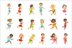 Kids Running Set. Of Cute Big-eyed Characters Flat Vector Isolated Illustrations On White Background vector illustration