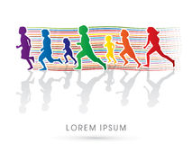 Kids running. Silhouette, Kids running, Designed using colorful line, graphic Stock Images