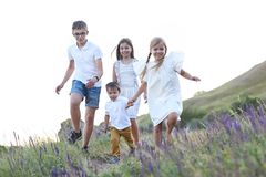 Kids running in the summer medow royalty free stock images