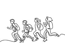 Kids running to school with bags. Kids running back to school with bags. Continuous line drawing. Vector illustration on white background stock illustration