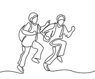 Kids running to school with bags. Kids running back to school with bags. Continuous line drawing. Vector illustration on white background vector illustration