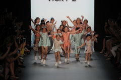 Kids on the runway at the Vicky Zhang Parent Child Collection S/S 2017 Royalty Free Stock Photos
