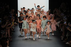 Kids on the runway at the Vicky Zhang Parent Child Collection S/S 2017 Stock Photos