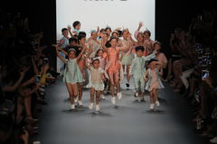 Kids on the runway at the Vicky Zhang Parent Child Collection S/S 2017 Royalty Free Stock Photo