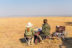 Kids at safari breakfast stock photo