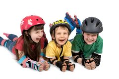 Kids in Safety Gear Royalty Free Stock Photography