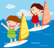 Kids sailing Stock Photo