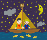Kids sailing adventure Stock Image