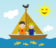 Kids sailing adventure. Girl and boy on sailing adventure. EPS file available Stock Photography