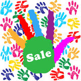 Kids Sale Shows Merchandise Multicolored And Promo Stock Photos