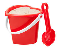 Kids sand bucket play. Red sand bucket for kids to play royalty free stock image