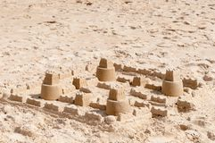 Kids sand castle construction Stock Photos