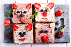 Kids sandwiches with cottage cheese and berries Royalty Free Stock Photo