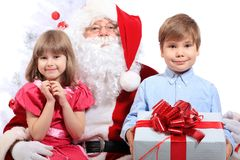 Kids and santa stock image
