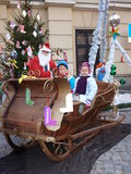Kids with Santa Claus, Lublin, Poland Royalty Free Stock Image