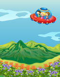 Kids and a saucer ship. Illustration of kids and a saucer ship in a beautiful nature Royalty Free Stock Photo