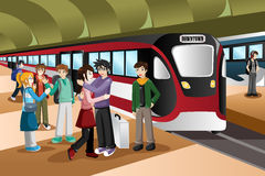 Kids Saying Farewell in the Train Station. A vector illustration of  kids saying farewell  in front of departing train at station Stock Image