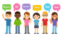 Kids saying Hi in different languages Stock Photo