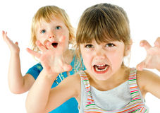 Kids scary faces Royalty Free Stock Image