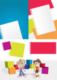 Kids in the school. Colorful template with kids in the school Royalty Free Stock Photo