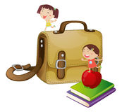 Kids with a school bag Stock Images