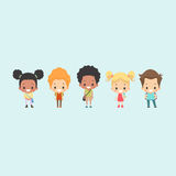 Kids School Bag. Illustration of a diverse group of kids wearing school bags ready to go to school vector illustration