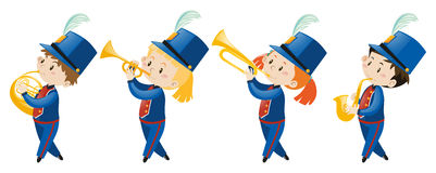 Kids in school band wearing blue uniform. Illustration Royalty Free Stock Image