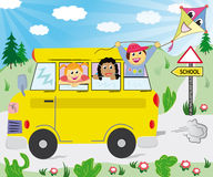 Kids in the school bus Royalty Free Stock Photos