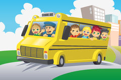 Kids in school bus Royalty Free Stock Photos