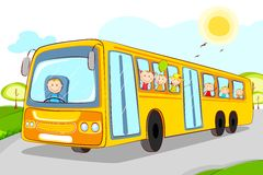 Kids in School Bus Stock Photography