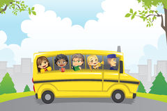 Kids in school bus. A vector illustration of kids riding in a school bus Royalty Free Stock Photography