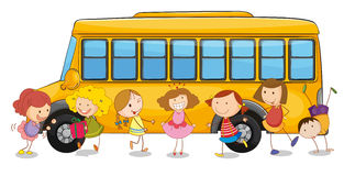 Kids and school bus Stock Photos