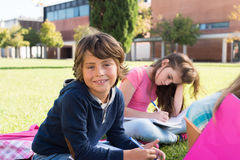 Kids on school campus Stock Photo