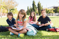 Kids on school campus. Group of happy school kids in school campus Stock Photography