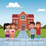 Kids in the school cartoon. Icon vector illustration graphic design stock illustration