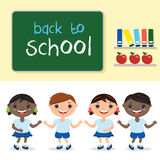 Kids in school class,with school board. With text b Stock Image