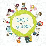 Kids school emblem sketch poster Royalty Free Stock Images