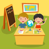 Kids school geography lessons illustration Stock Photo
